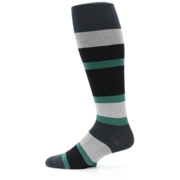 Image of Black Green Stripe Men's Over-the-Calf Dress Socks (side-2-12)
