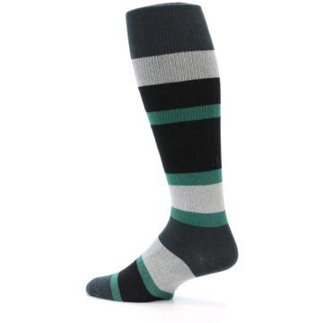 Image of Black Green Stripe Men's Over-the-Calf Dress Socks (side-2-13)