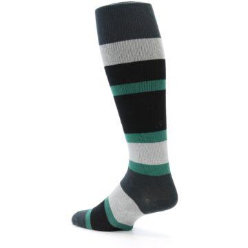 Image of Black Green Stripe Men's Over-the-Calf Dress Socks (side-2-back-14)