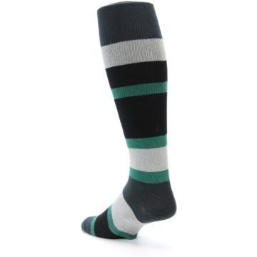 Image of Black Green Stripe Men's Over-the-Calf Dress Socks (side-2-back-15)