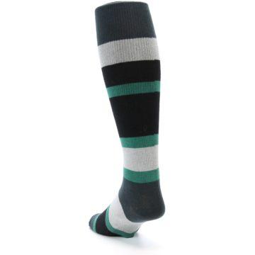 Image of Black Green Stripe Men's Over-the-Calf Dress Socks (side-2-back-16)