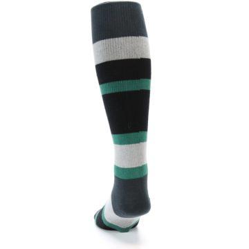Image of Black Green Stripe Men's Over-the-Calf Dress Socks (back-17)