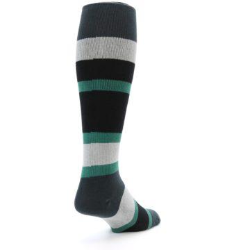 Image of Black Green Stripe Men's Over-the-Calf Dress Socks (side-1-back-21)