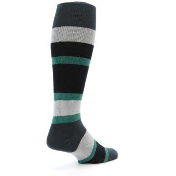 Image of Black Green Stripe Men's Over-the-Calf Dress Socks (side-1-back-22)
