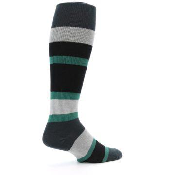 Image of Black Green Stripe Men's Over-the-Calf Dress Socks (side-1-23)