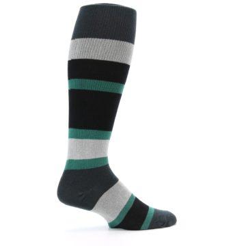 Image of Black Green Stripe Men's Over-the-Calf Dress Socks (side-1-24)