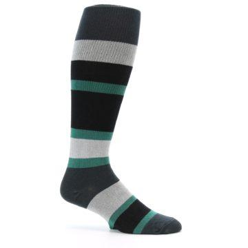 Image of Black Green Stripe Men's Over-the-Calf Dress Socks (side-1-25)