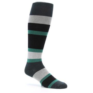 Image of Black Green Stripe Men's Over-the-Calf Dress Socks (side-1-26)