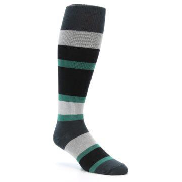 Image of Black Green Stripe Men's Over-the-Calf Dress Socks (side-1-27)