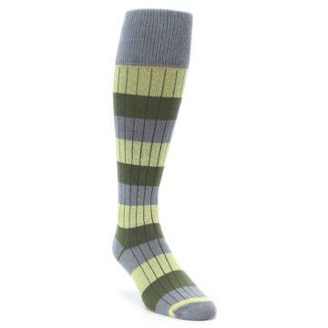Image of Grey Green Stripe Men's Over-the-Calf Dress Socks (side-1-front-02)