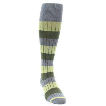 Image of Grey Green Stripe Men's Over-the-Calf Dress Socks (side-1-front-03)
