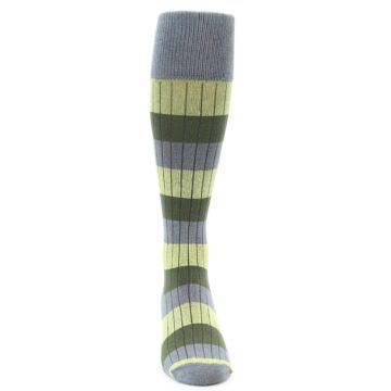 Image of Grey Green Stripe Men's Over-the-Calf Dress Socks (front-04)