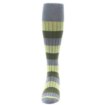 Image of Grey Green Stripe Men's Over-the-Calf Dress Socks (front-05)
