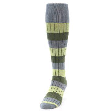 Image of Grey Green Stripe Men's Over-the-Calf Dress Socks (side-2-front-06)