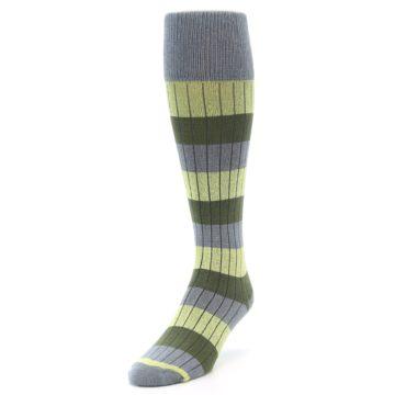 Image of Grey Green Stripe Men's Over-the-Calf Dress Socks (side-2-front-07)