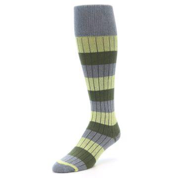 Image of Grey Green Stripe Men's Over-the-Calf Dress Socks (side-2-front-08)