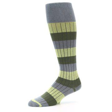 Image of Grey Green Stripe Men's Over-the-Calf Dress Socks (side-2-10)