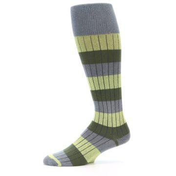 Image of Grey Green Stripe Men's Over-the-Calf Dress Socks (side-2-11)