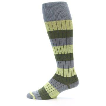Image of Grey Green Stripe Men's Over-the-Calf Dress Socks (side-2-12)