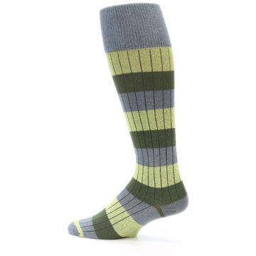 Image of Grey Green Stripe Men's Over-the-Calf Dress Socks (side-2-13)