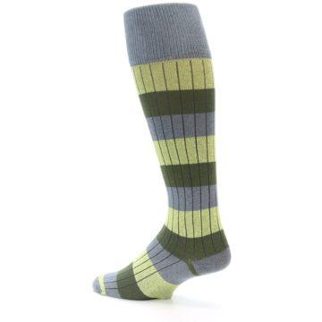 Image of Grey Green Stripe Men's Over-the-Calf Dress Socks (side-2-back-14)