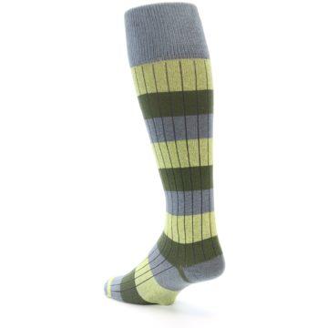 Image of Grey Green Stripe Men's Over-the-Calf Dress Socks (side-2-back-15)