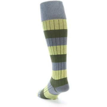 Image of Grey Green Stripe Men's Over-the-Calf Dress Socks (side-2-back-16)