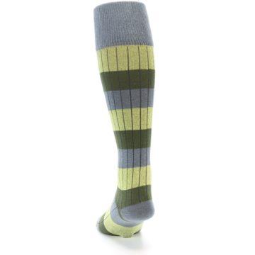 Image of Grey Green Stripe Men's Over-the-Calf Dress Socks (back-17)