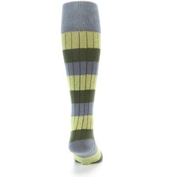 Image of Grey Green Stripe Men's Over-the-Calf Dress Socks (back-19)