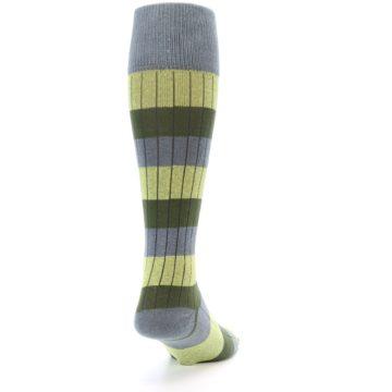 Image of Grey Green Stripe Men's Over-the-Calf Dress Socks (side-1-back-20)