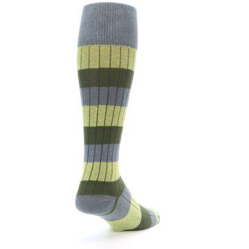 Image of Grey Green Stripe Men's Over-the-Calf Dress Socks (side-1-back-21)