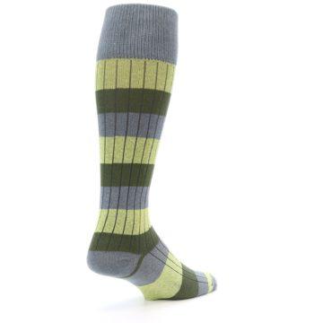 Image of Grey Green Stripe Men's Over-the-Calf Dress Socks (side-1-back-22)