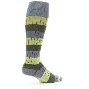 Image of Grey Green Stripe Men's Over-the-Calf Dress Socks (side-1-23)