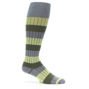 Image of Grey Green Stripe Men's Over-the-Calf Dress Socks (side-1-25)