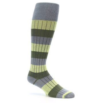 Image of Grey Green Stripe Men's Over-the-Calf Dress Socks (side-1-26)