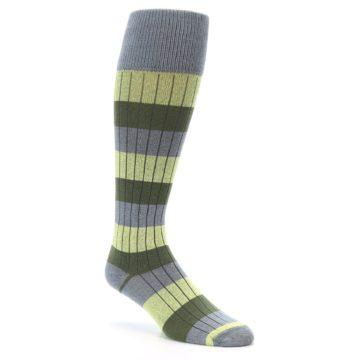 Image of Grey Green Stripe Men's Over-the-Calf Dress Socks (side-1-27)