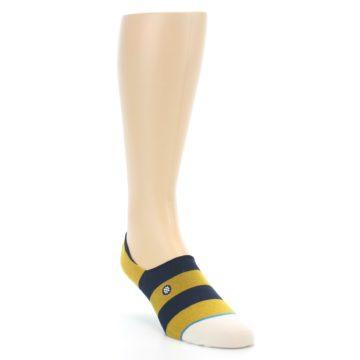 Image of Gold Navy Stripe Men's No-Show Socks (side-1-front-02)
