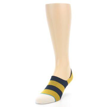 Image of Gold Navy Stripe Men's No-Show Socks (side-2-front-07)