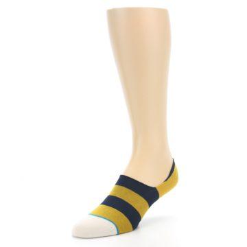 Image of Gold Navy Stripe Men's No-Show Socks (side-2-front-08)