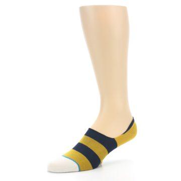 Image of Gold Navy Stripe Men's No-Show Socks (side-2-09)