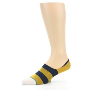 Image of Gold Navy Stripe Men's No-Show Socks (side-2-10)