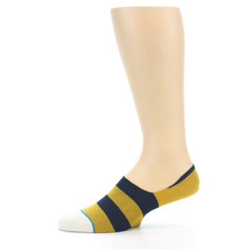 Image of Gold Navy Stripe Men's No-Show Socks (side-2-11)