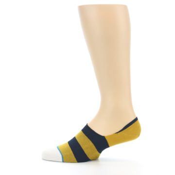 Image of Gold Navy Stripe Men's No-Show Socks (side-2-12)