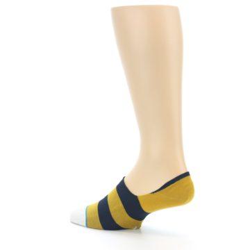Image of Gold Navy Stripe Men's No-Show Socks (side-2-back-14)