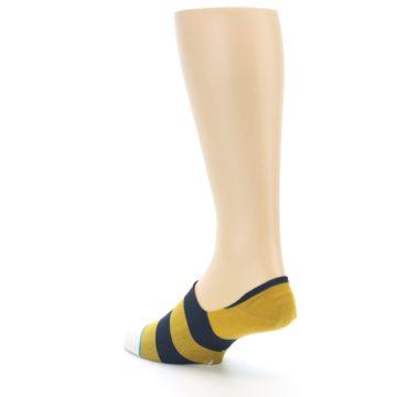 Image of Gold Navy Stripe Men's No-Show Socks (side-2-back-15)