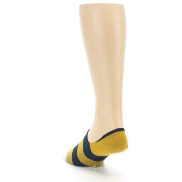 Image of Gold Navy Stripe Men's No-Show Socks (side-2-back-16)