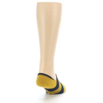 Image of Gold Navy Stripe Men's No-Show Socks (side-1-back-20)