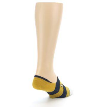 Image of Gold Navy Stripe Men's No-Show Socks (side-1-back-21)