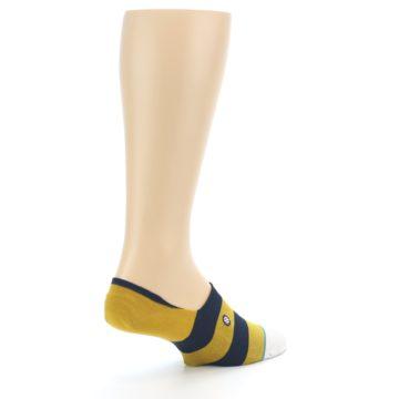 Image of Gold Navy Stripe Men's No-Show Socks (side-1-back-22)