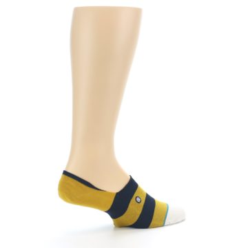 Image of Gold Navy Stripe Men's No-Show Socks (side-1-23)